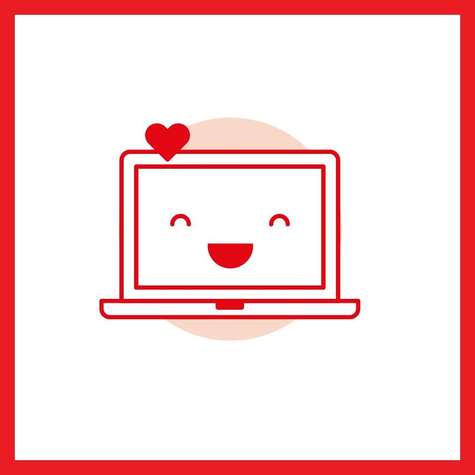Red happy laptop icon