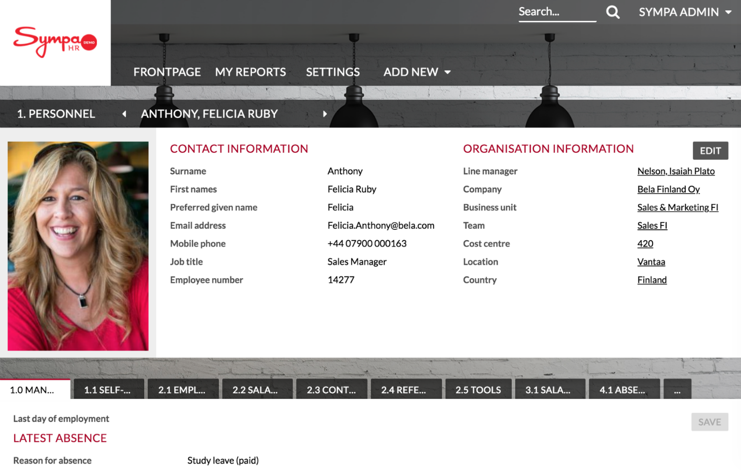 Screenshot of Sympa contact information page