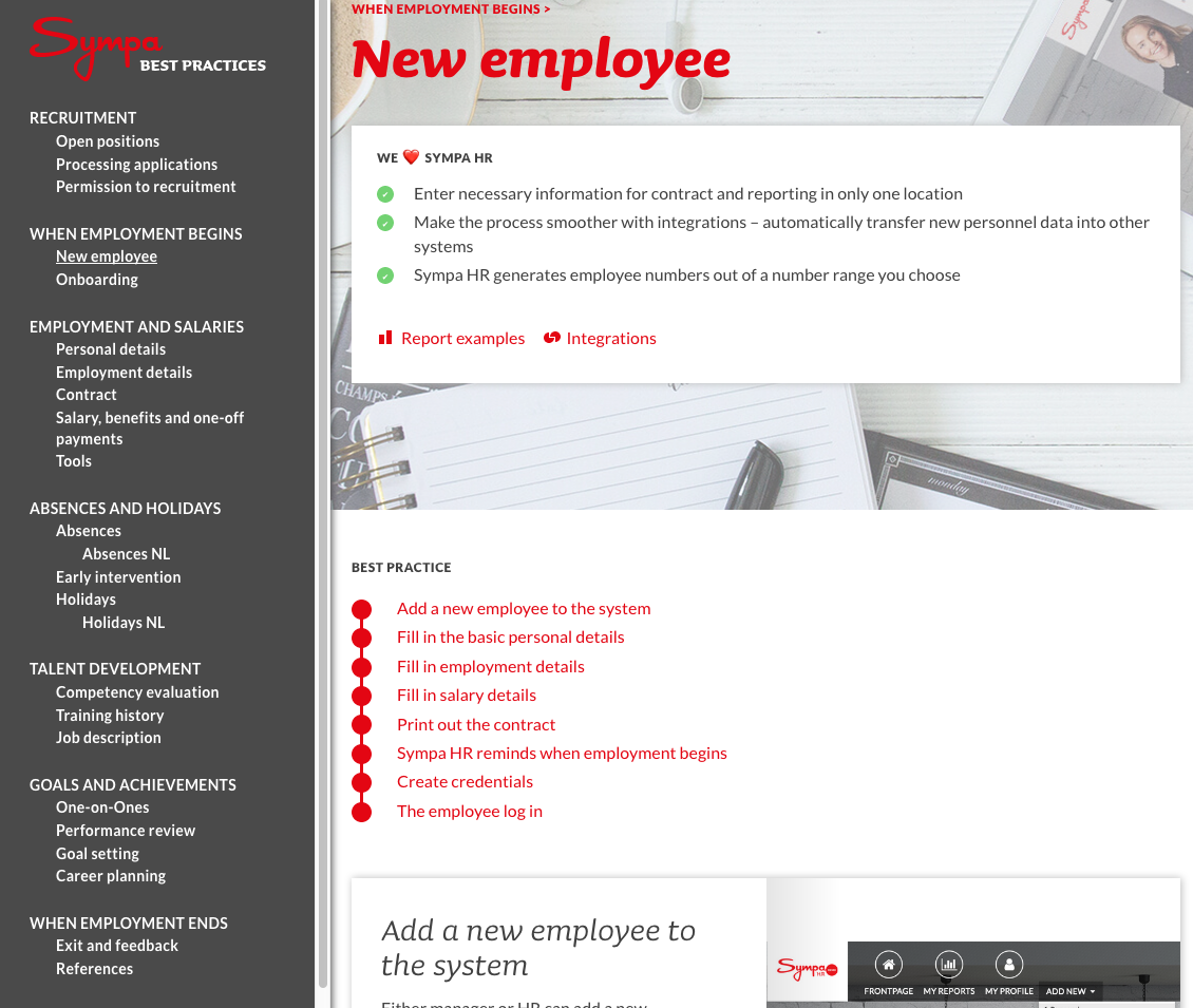 Best practices page for new employee