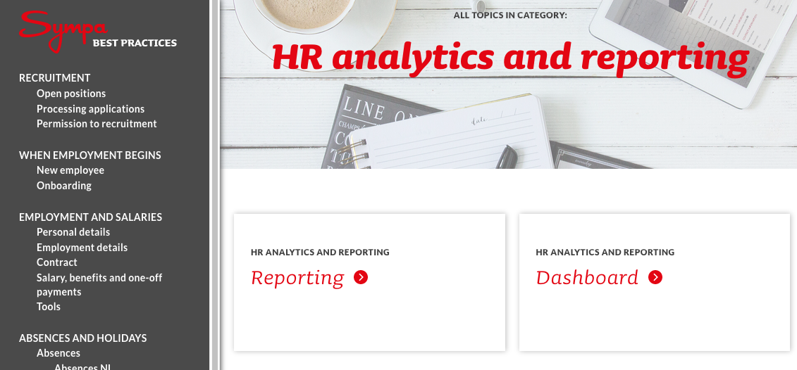 Sympa HR analytics and reporting on Best Practices site