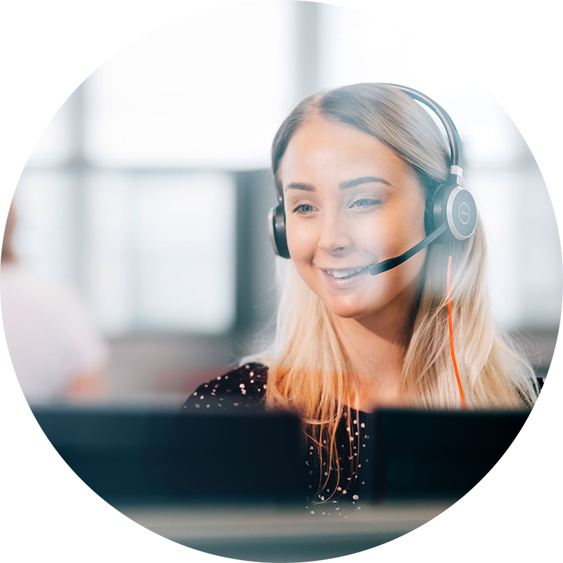Customer support specialist on a call