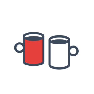 Two mugs white and red icon