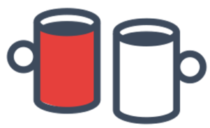Red and white mugs icon